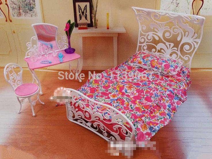 Кукольный домик принцесса зеркало комплект постельного белья мебель для спальни игрушки для маленьких детей девушки подарок на день рождения аксессуары для барби кен кукла