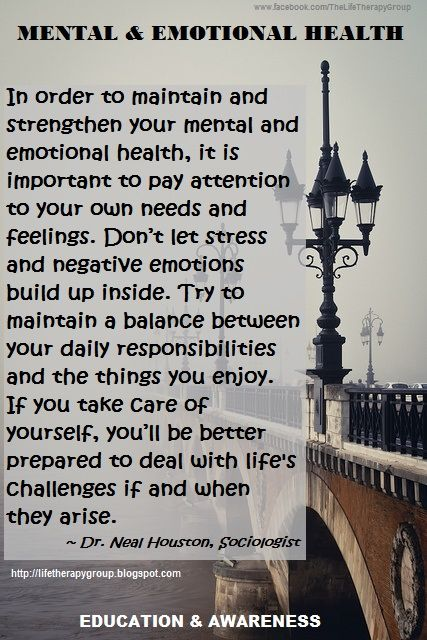 Mental and Emotional Health ~ Dr. Neal Houston, Sociologist (Mental Health & Life Wellness) EDUCATION & AWARENESS www.facebook.com/TheLifeTherapyGroup