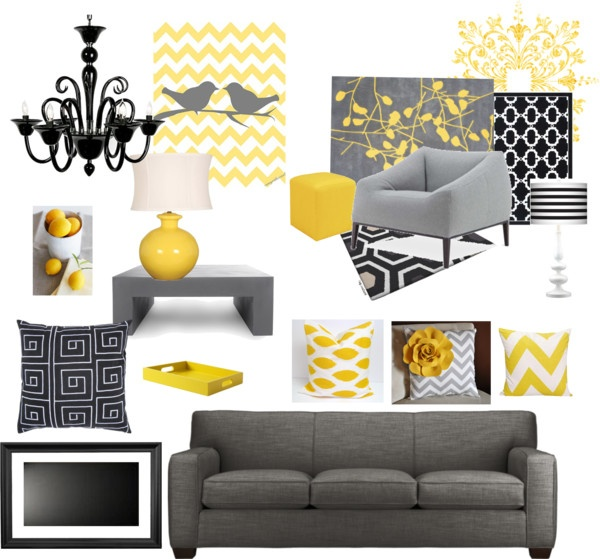 """Yellow and Grey"" by robinelletson on Polyvore"