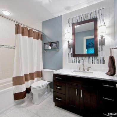 Main bathroom tile around mirror design pictures remodel for Main bathroom remodel ideas
