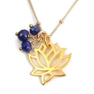 Sapphire Lotus Gold Necklace - Transformation Prosperity - $92.00 : Handmade Yoga Jewelry, Yoga Inspired Jewelry, Inspirational Jewelry, Meaningful Jewelry & Spiritual Healing Energy Jewelry,  Necklaces with Meaning,  Bracelets with Meaning,  Earrings with Meaning, Gem or Gemstone Meaning Jewelry, Om Lotus Ganesh Namaste Manadala Mudra  Jewelry, Jewelry gifts for all occasions,  Handcrafted Yoga Jewelry of Simple Beauty, Yoga inspired jewelry