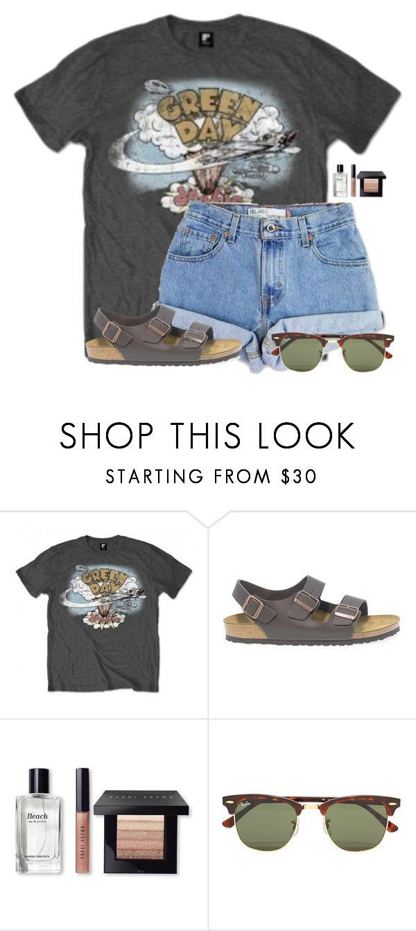 """""""~vintage tees~"""" by flroasburn on Polyvore featuring Levi's, Birkenstock, Bobbi Brown Cosmetics, Ray-Ban and vintage"""
