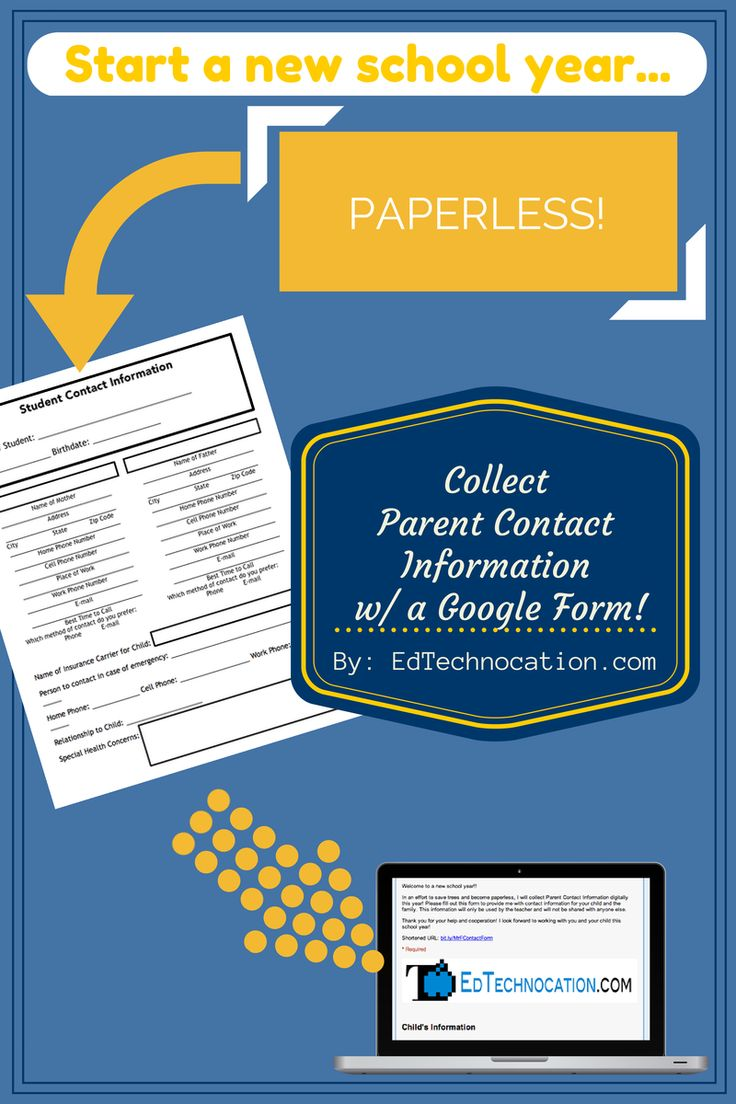 Collect Parent Contact Information w/ a Google Form! Use a Google Form to gather Parent Contact Information this school year! It's...
