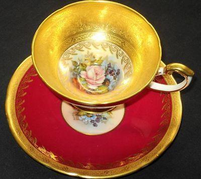 AYNSLEY GOLD ENCRUST SIGNED  PEDESTAL PINK ROSE BOUQUET TEA CUP AND SAUCER: