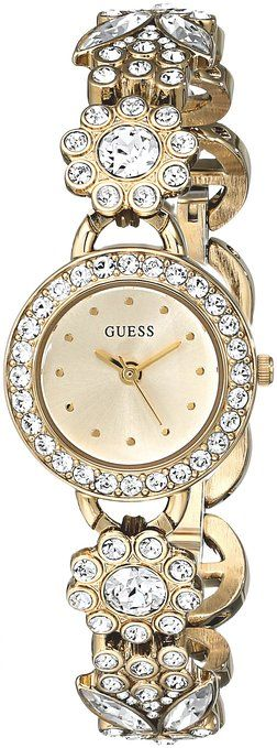 GUESS Women's U0527L2 Gold-Tone Jewelry Inspired Watch with Genuine Crystals & Self-Adjustable Bracelet