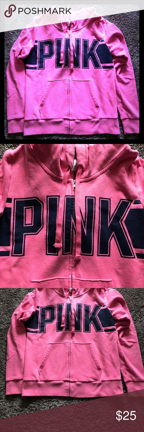 VS PINK zip up hoodie Great condition vs pink zip up hoodie with blue logo. Size medium. PINK Victoria's Secret Tops Sweatshirts & Hoodies