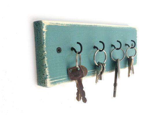 Beach House Key Holder - sleutel hanger belangrijke haak rek belangrijke rek belangrijke haken houten muur haken muur decor rustieke muur haken turquoise noodlijdende