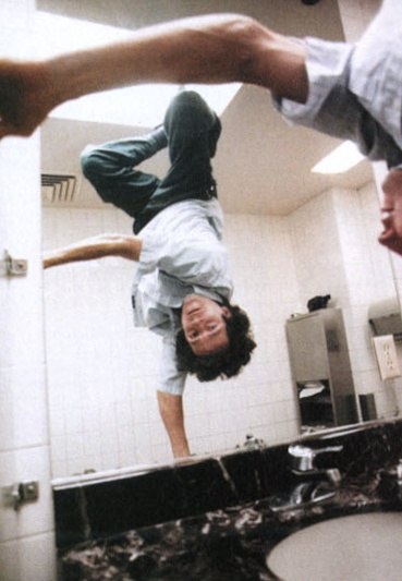 Mark Gonzales  Handplant on a restroom sink in Culver City, California. '96  (pic by Spike Jonze)