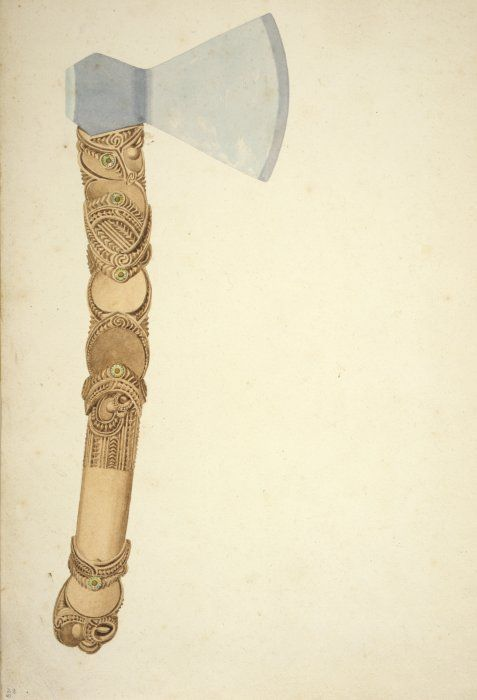 Samuel Charles Brees, 1810-1865: [Study of carved axe-handle between 1842-1845] A carefully-detailed Maori carved handle with wooden inserts and a European axe-head.