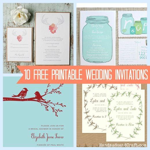 10 Printable Wedding Invitations {free} - DIY Wedding pretties! :)