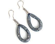 mesh net glass bead hoop hook earrings blue silvery dangle handmade unique circle round