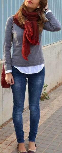 #fall #outfits / red scarf + gray knit