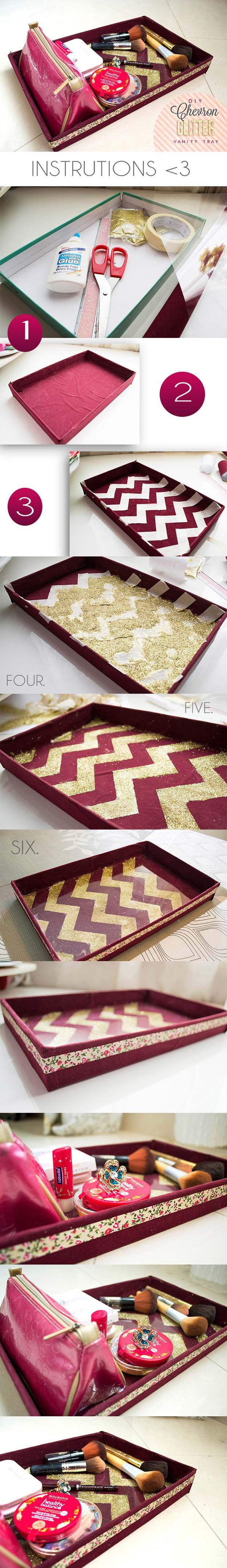 DIY Makeup Storage and Organizing - DIY Chevron Glitter Vanity Tray - Awesome Ideas and Dollar Stores Hacks for Some Seriously Great Organizers For Small Spaces - Box and Vanity Ideas as well as Easy Ideas for Jars and Drawers, Cheap Wall Shoebox Containers and Quick Holders with Cardboard - thegoddess.com/DIY-Makeup-Storage