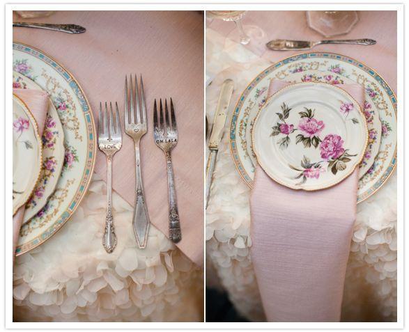 floral dinnerware and engraved silverware