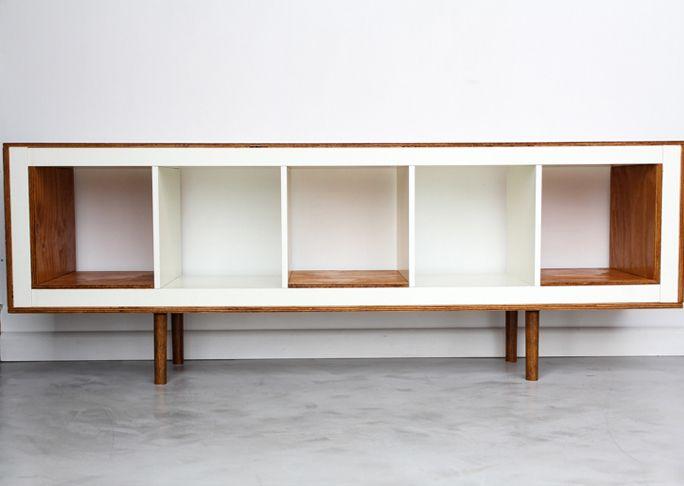 Ikea bookcase turned Mid Century Modern Sideboard