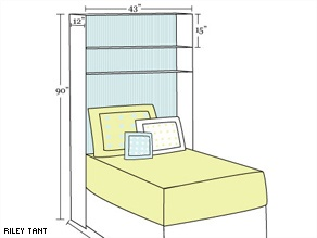 Make this over the bed shelving unit to hold your photos, books and other personal items.