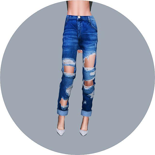 Female_Roll Up Destroyed Jeans_롤업 디스트로이드 진_여자 의상                              …
