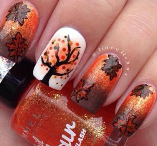 20 Fantastic Nail Designs for Thanksgiving: #1. Passionate Fall Nail Art