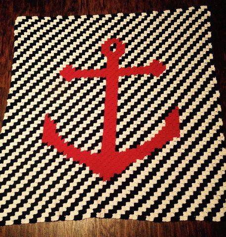 Nautical Baby Blanket - C2C Crochet Pattern - Nursery Gift ...