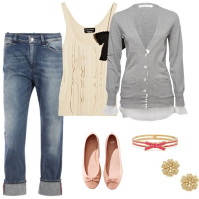 Cute!: Casual Outfit, Summer Outfit, Cute Jeans And Flats, Black Bows, Cute Cardigans Outfit, Pink Flats, Cute Spring Outfit, Big Bows, Cardigans And Flats