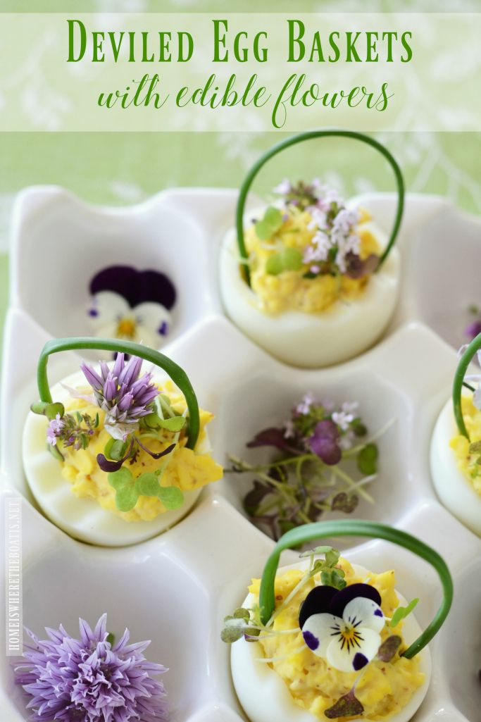 Deviled Egg Baskets for Easter! They also make for a pretty presentation when you want to dress up your deviled eggs for a spring gathering or celebration - ideal for a Derby party, garden club lunch, or bridal shower. Deviled Egg Baskets with Edible Flowers | homeiswheretheboatis.net