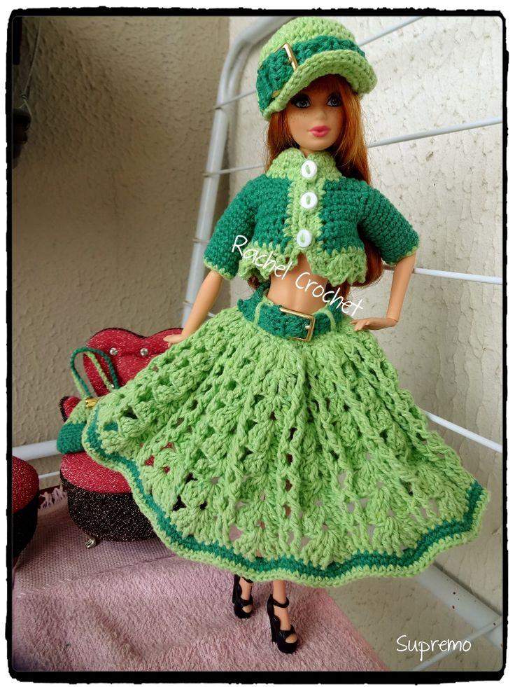 #Supremo #Doll #Crochet #Vestido #Dress #Barbie #Chapéu #Hat #RaquelGaucha #Bolsa #Boina #Purse #Saia #Skirt