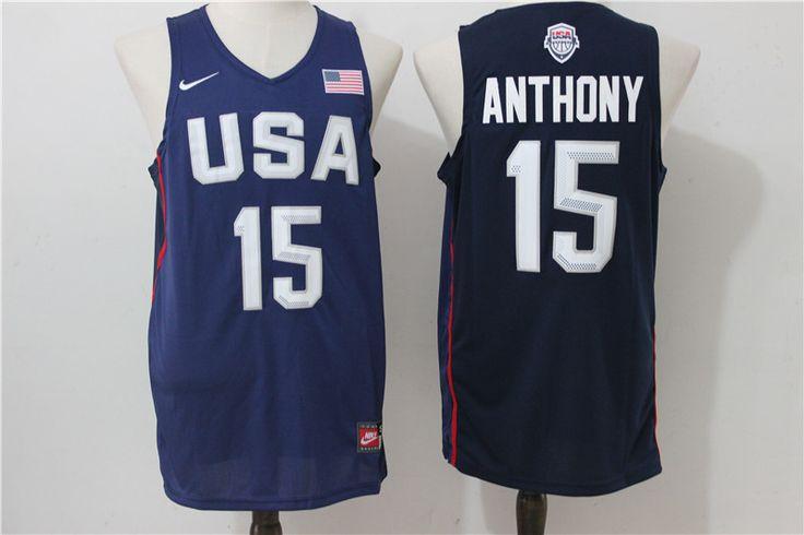 NBA 2016 USA Dream Team #15 Anthony Jersey Navy Blue