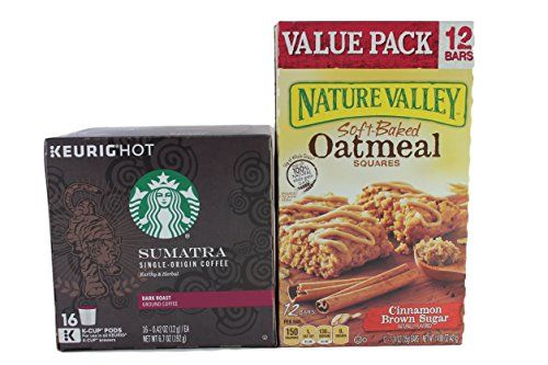 Starbucks Coffee and Nature Valley Oatmeal Squares Variety Pack Bundle of 2 items: 1 box of 16 Sumatra Keurig k-cups and 1 box of Soft Baked Oatmeal Squares Cinnamon Brown Sugar (12 bars) ** Read more reviews of the product by visiting the link on the image.