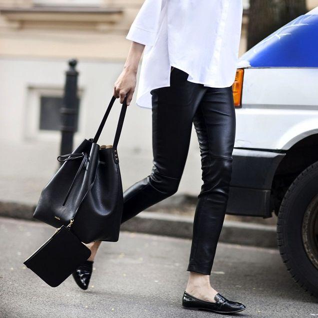 leather pants, flats, white shirt, bucket bag | HarperandHarley