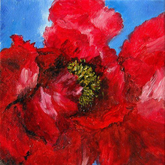 RED PEONY  Photo Card Handmade 5 x 7 with 100 by WoodallWritingCo, $5.00