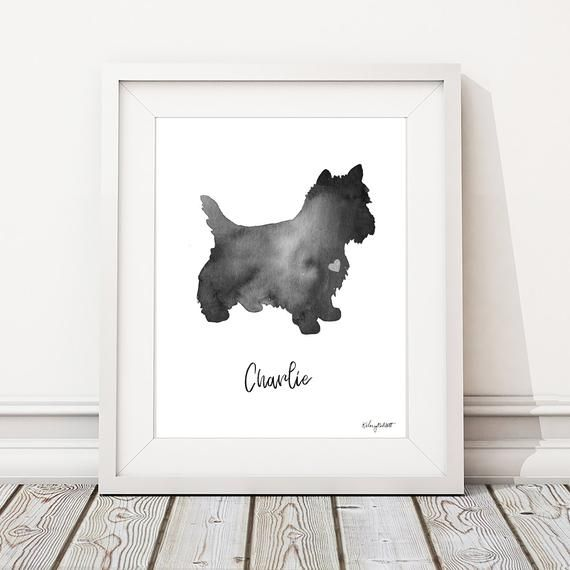 Personalized Dog Name Print Westie Dog Watercolor Dog Painting