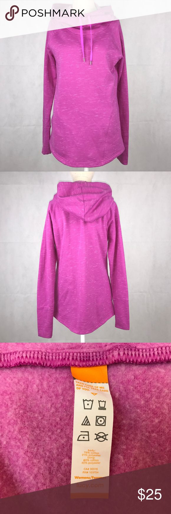 Lucy purple/pink cowl neck hooded sweatshirt Lucy women's size Medium purple/pink funnel cowl neck long sleeve pockets hooded sweatshirt. Made of 79% cotton and 21% polyester. Chest measurement: 17.5 inches (underarm to underarm) Sleeve measurement: 28 inches (neck to hem) Length measurement: 25.5 inches Lucy Tops Sweatshirts & Hoodies
