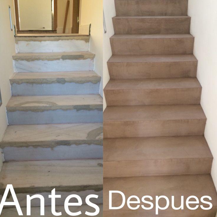 Escaleras cubiertas con cemento pulido realcem www - Pared cemento pulido ...