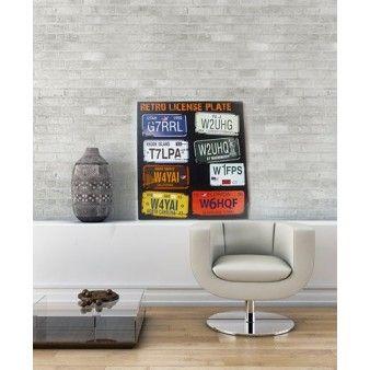 Une touche de Vintage dans le salon avec ces toiles 50x50cm. Design rétro plaques d'immatriculation 60's.