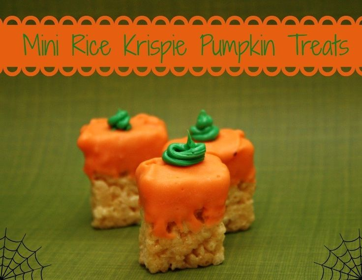 Mini Rice Krispie Pumpkin Treats- THESE ARE PERFECT TO TIE IN WITH THE BOOK AND MOVIE SPOOKLY THE SQUARE PUMPKIN!
