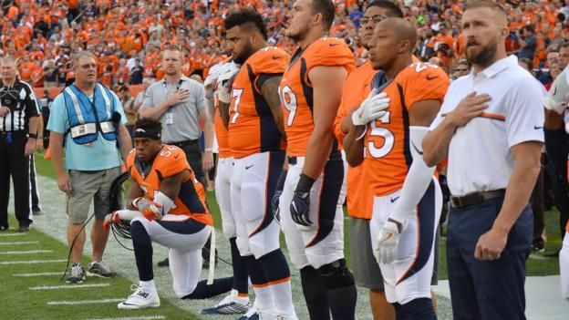 NFL: Brandon Marshall protests against US anthem as Broncos beat Panthers - BBC Sport