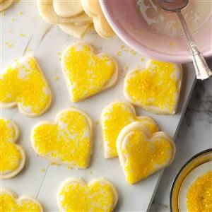 Lemon Shortbreads Recipe -Every year my mom and I collect cookie recipes we want to try and then get together in early December for an afternoon of baking. These no-fail lemon cookies have become an annual tradition. They're a wonderful homemade holiday gift. —Kristen Stecklein, Glendale, Wisconsin
