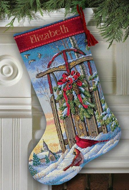 Christmas Sled Stocking Cross-Stitch Stocking Kit