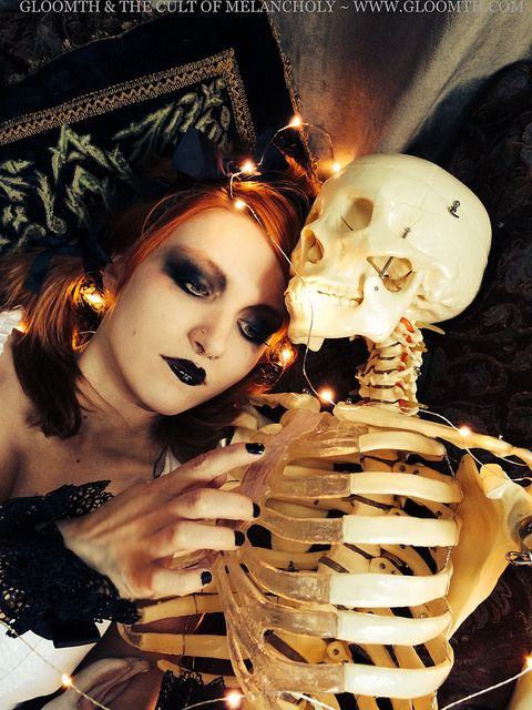 Skeleton Valentine by gloomth, via Flickr  Black lipstick red haired gothic girl with skeleton