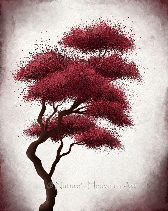 Japanese Bonsai Tree Art, Red Wall Decor, Abstract Print, Fantasy Art, 8 x 10 Nature Print (111)