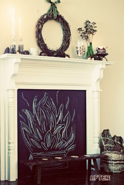 30. Fireplace | 33 Things You Can Turn Into Chalkboards