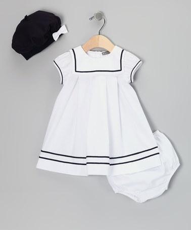 White Sailor Dress Set - Infant by Petit Confection on #zulily today!