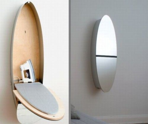 mirror and ironing board combo. small house, small home, tiny house, tiny home, small spaces, small space living, space-saving, compact, folding, transformer, convertible, multipurpose, laundry room