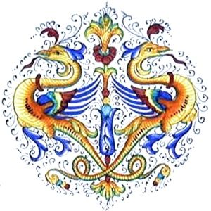 Majolica is Italian glazed and painted earthenware. These designs have been popular since the 1400s.