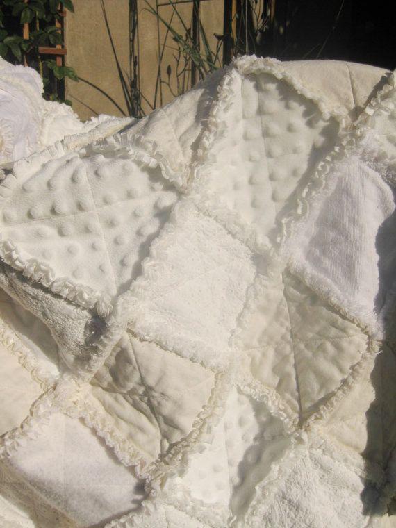Shabby Chic Wedding Rag Quilt Reserved For Joanne White