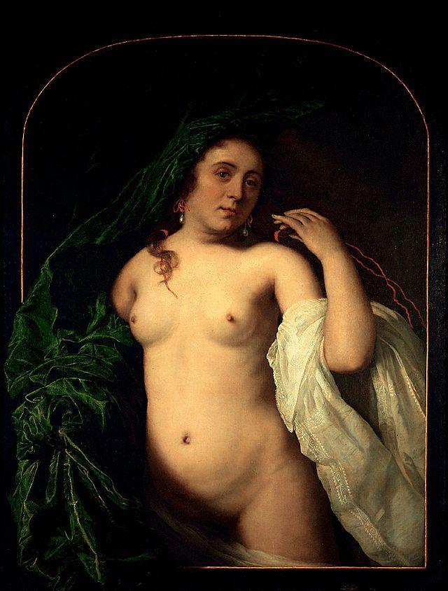 Bartholomeus van der Helst - Jonge ontsluierde vrouw heft een gordijn
