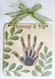 Salt dough handprint tile.