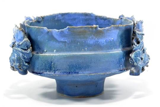 COLIN PEARSON (1923-2007); a large oval stoneware open vessel with four textured wings covered in