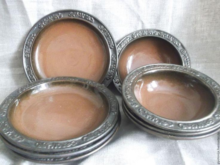 Купить Тарелки обеденные коричневые- 12 штук в комплекте - посуда, столовая посуда