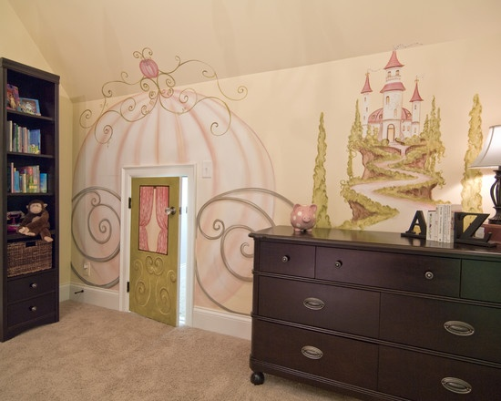 Cinderella room :)-- don't like the dark wood furniture but LoVe the mural colors/design